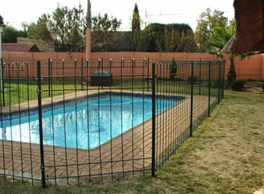 Wire pool fences consist of panels posts steel brackets and gates - Swimming pool fencing options consider ...