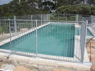 Square pipe frame with steel wire infill Australia pool fences are surrounding the pool.